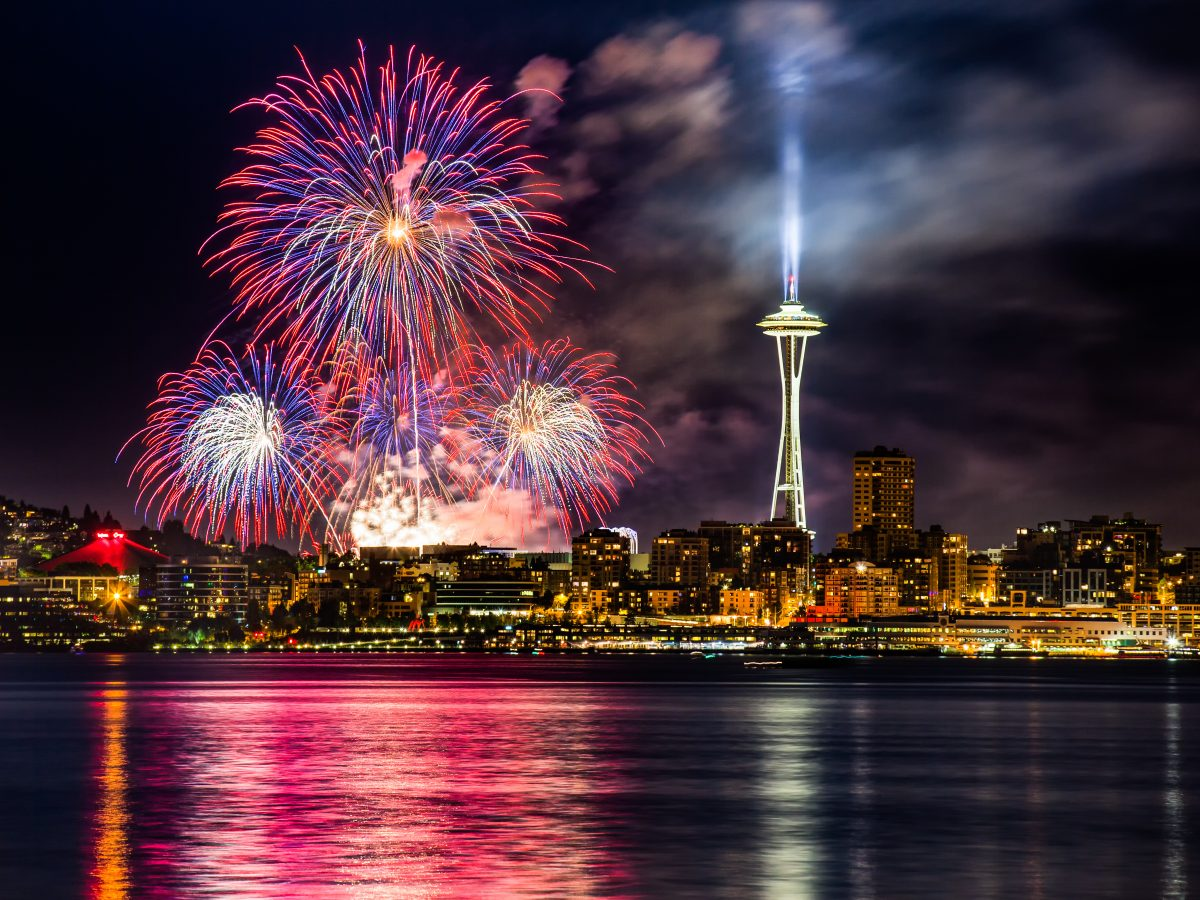 Fireworks over Lake Union