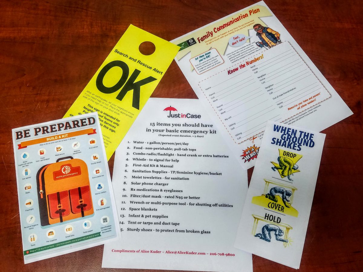 Display of emergency checklists available at the Ready Freddy Workshop and as free downloads at the Just in Case website.