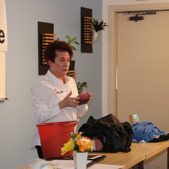 Presenter, Alice Kuder, shows items in a Go Kit.